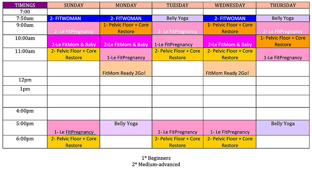 Schedule workout routine Example of
